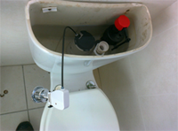 toilet repair - cistern refitted and filled for testing